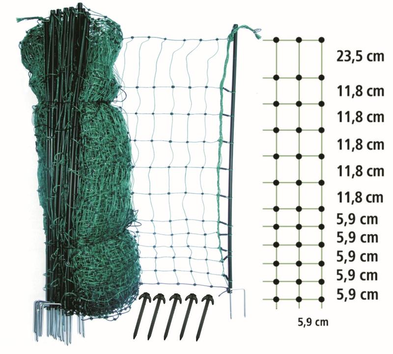 Geflügelnetz 112cm 50m Doppelspitz grün nicht elektrifizierbar