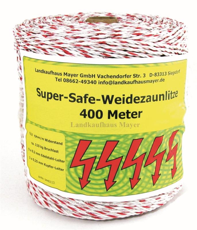 Weidezaunlitze Super-Safe 400m Weiß/Rot