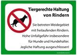 Warnschild *Tiergerechte Haltung von Rindern* 29 x 21cm